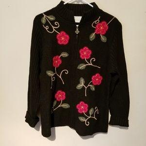 Alfred Dunner Black Zip Wool Applique Sweater.